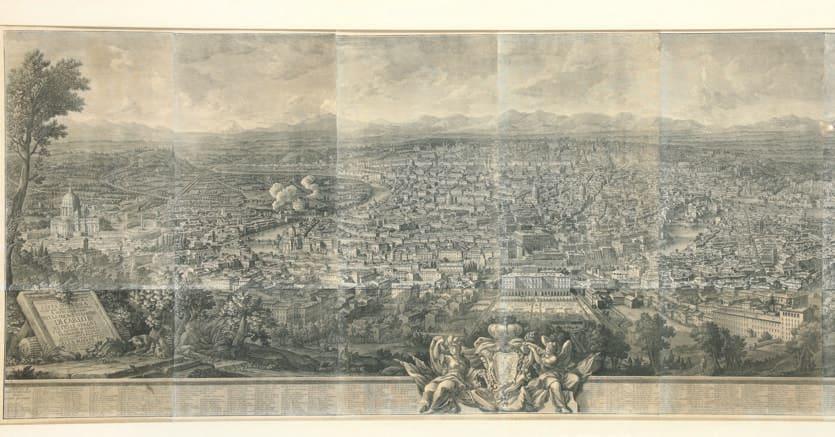 Una stampa raffigurante il prospetto della città di Roma vista dal Gianicolo
