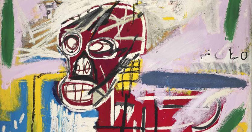 "Jean-Michel Basquiat (1960-1988), ""Red Skull"", acrylic, oilstick and paper collage on canvas, 60 x 60in. (152,4x152,4 cm), executed in 1982, estimate on request , price realised: GBP 16.546.250"