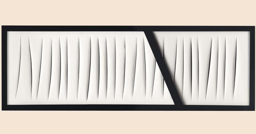 Lot 17, LUCIO FONTANA (1899 – 1968), Concetto spaziale, attese, Waterpaint on canvas with lacquered wood, 27 ½ x 84in. (70 x 200cm.), Executed in 1965, Estimate: £8,000,000 – 12,000,000, Price realised GBP 8,671,250 (CHRISTIE'S IMAGES LTD. 2018)