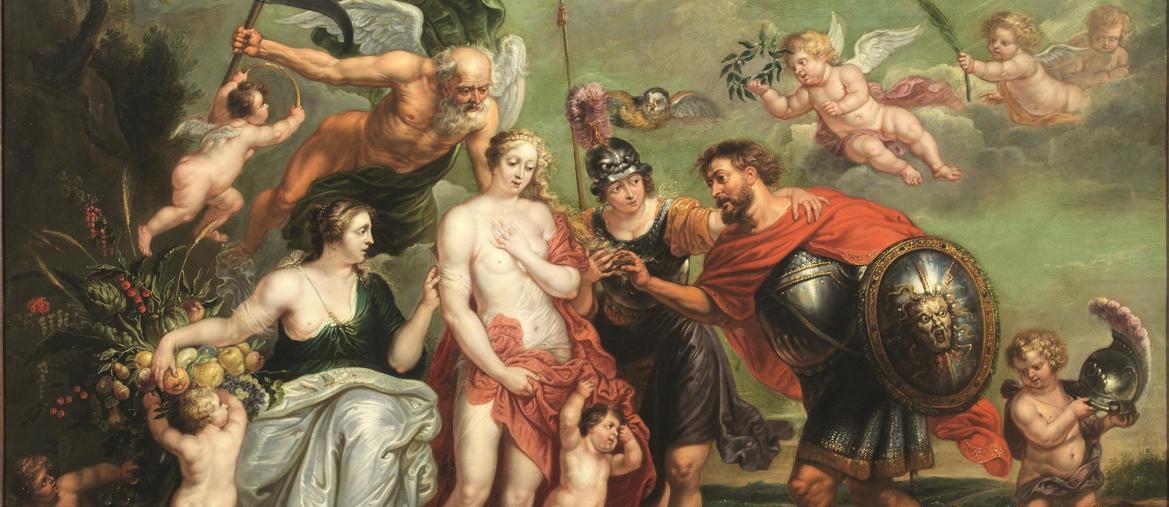 """Pandolfini: un olio su rame di scuola fiamminga del XVII secolo, 106x127 cm, """"L'eroe vittorioso coglie l'occasione per concludere la pace"""""""" stima 12-20mila euro realizzo 33.750 euro"""
