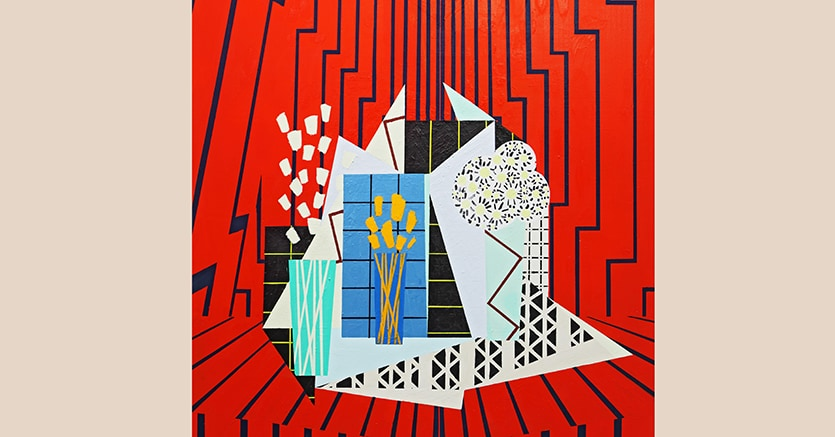 Farah Atassi (b.1981) Still Life in Red Interior, 2015 Oil & glycero on canvas 185 x 140 cm Donated by the artist