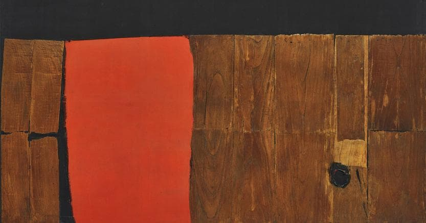 "ALBERTO BURRI. ""Grande legno e rosso"", signed and dated ""Burri 57-59"" on the reverse, wood, acrylic and combustion on canvas, (150 x 250 cm.). Executed in 1957-1959. Estimate $10,000,000 - 15,000,000. LOT NOT SOLD"