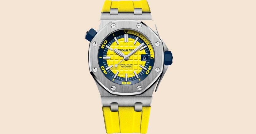 Dna creativo.Il nuovo Royal Oak Offshore Diver, subacqueo fino a 300 metri, presenta un vivace quadrante giallo. Disponibile anche in altri colori - il verde, il bianco, il blu, l'arancio – l'orologio costa 20.600 euro
