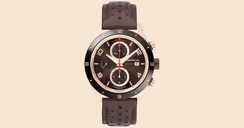 TimeWalker cronograph automatic ha una cassa in oro rosso di 43 mm ed è animato dal calibro MB 25.07. Ripropone in chiave moderna i codici della manifattura Minerva