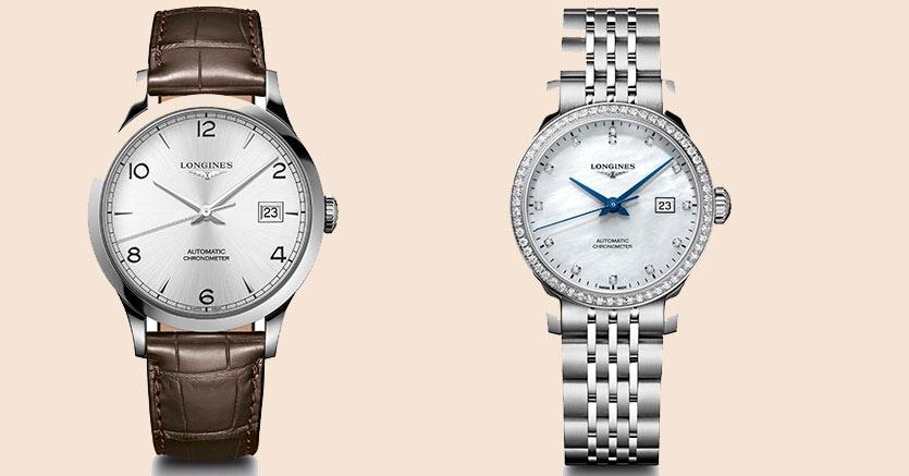 Da sinistra: il Longines Record da uomo, con cassa di 40 mm, dotato di movimento automatico certificato Cosc (2.040 euro) e il Record da donna (30 mm) in acciaio e diamanti, con quadrante in madreperla (4.370 euro)