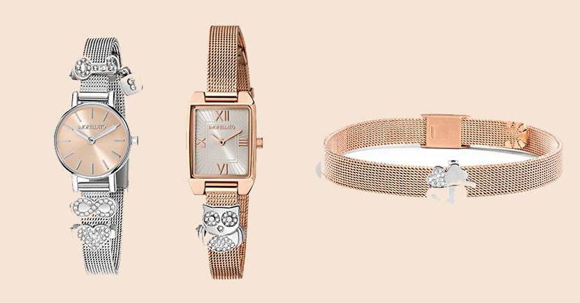 Da sinistra: orologio con cassa tonda, dial rosa e bracciale maglia milanese con tre charms (129 euro);modello con dial silver e bracciale maglia milanese con due charms (129 euro); bracciale in oro rosa Pvd con ciondolo a forma di quadrifoglio (69 euro)