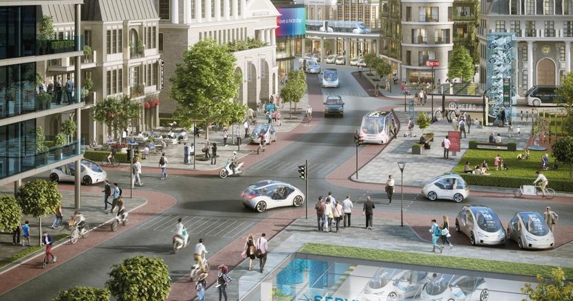 Auto connesse, servizi digitali e guida automatizzata cambiano la mobilità urbana. Nell'immagine un disegno di come Bosch immagina il futuro