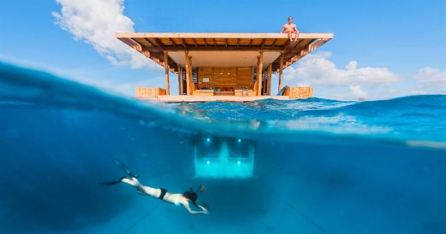 Underwater Room del Manta Resort di Pemba (foto Jesper Anhede/Genberg Art UW Ltd)