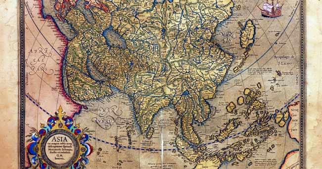 Una delle carte geografiche di Gerardo Mercatore in mostra a Pechino