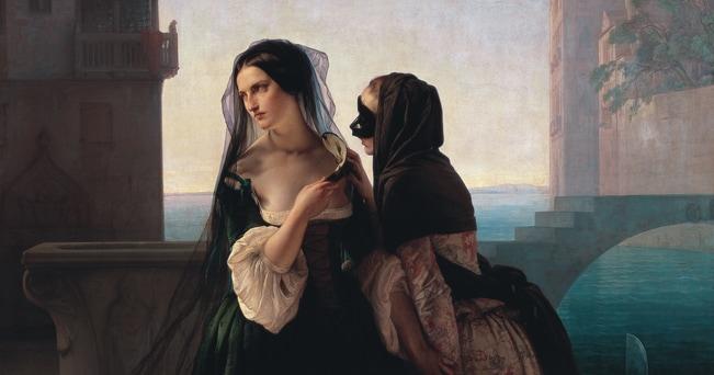 Francesco Hayez. Il consiglio alla vendetta, 1851. Tela, 237 x 178 cm. Sammlungen des Fürsten von und zu Liechtenstein, Vaduz-Wien