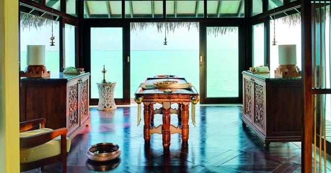 Una suite dedicata ai trattamenti ayurvedici nella Jiva Spa, centro benessere del Taj Exotica Resort & Spa