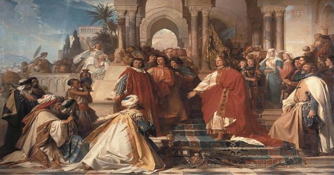 Arthur Georg von Ramberg [Public domain],  The Court of Emperor Frederick II in Palermo -via Wikimedia Commons