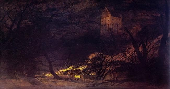 "Caspar Friedrich:""Casa in fiamme e chiesa gotica"", cm. 61 x 88, Schafer, Obbach bei Schweinfurt"