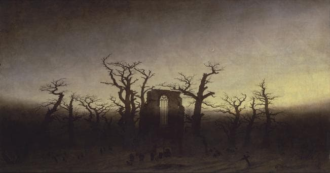 """Caspar David Friedrich - Abtei im Eichwald - Google Art Project"" di Caspar David Friedrich - UAEmmuxqtNUt-g at Google Cultural Institute, zoom level maximum. Con licenza Pubblico dominio tramite Wikimedia Commons"