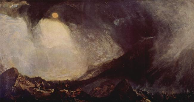 ph di Wikimedia: Opera di William Turner: Bufera di neve. Annibale e il suo esercito attraversano le Alpi