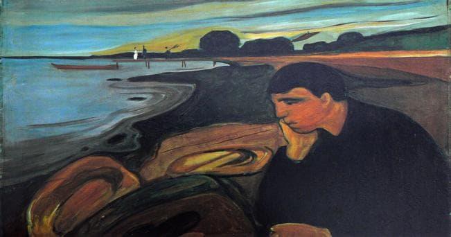 Edvard Munch:Melancholy, 1894–96. Oil on canvas. 81 × 100.5 cm. Bergen Kunstmuseum, Bergen
