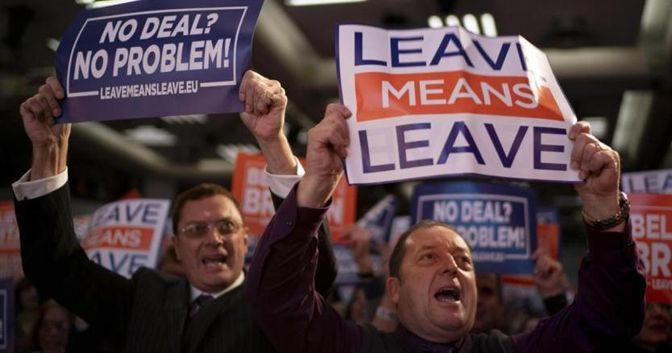 Sostenitori dell'uscita del Regno Unito dalla Ue a Londra durante la manifestazione del 14 dicembre