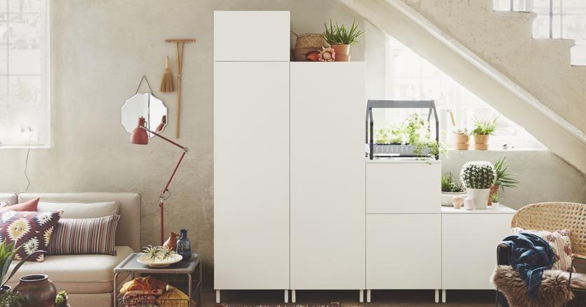 Il sistema componibile Platsa: mobili assemblati con un meccaninismo che permette di smontarli e rimontarli molte volte