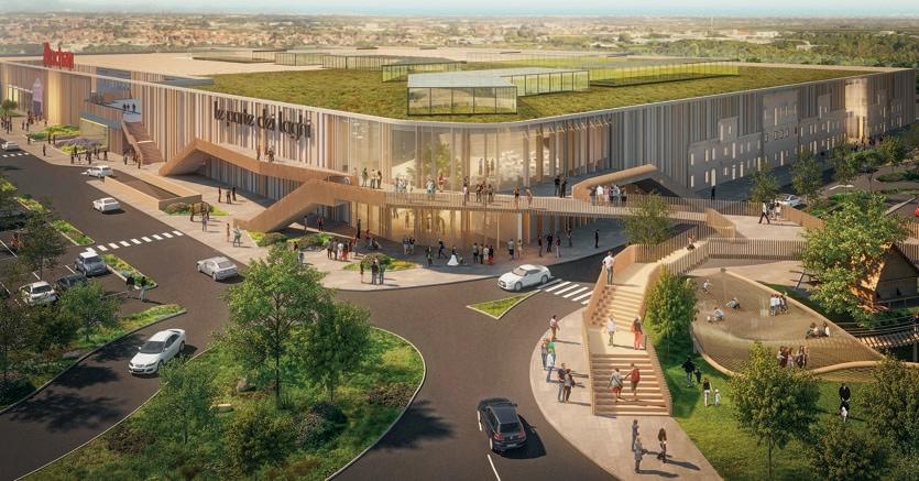 Il rendering del nuovo centro commerciale di Rescaldina (Milano) di Gallerie Commerciali Italia, filiale italiana di Immochan