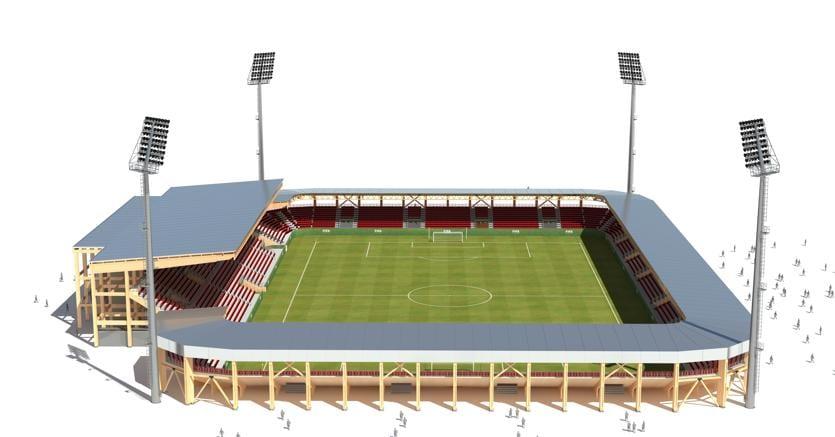 Un modello di stadio Rubner in legno lamellare da 10mila posti