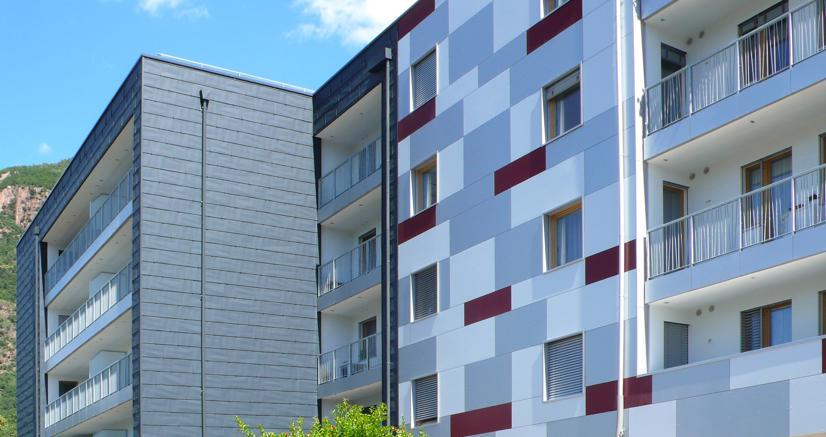 Tra le opere di riqualificazione di un complesso residenziale di Bolzano riscaldamento e condizionamento sono inseriti nella nuova facciata