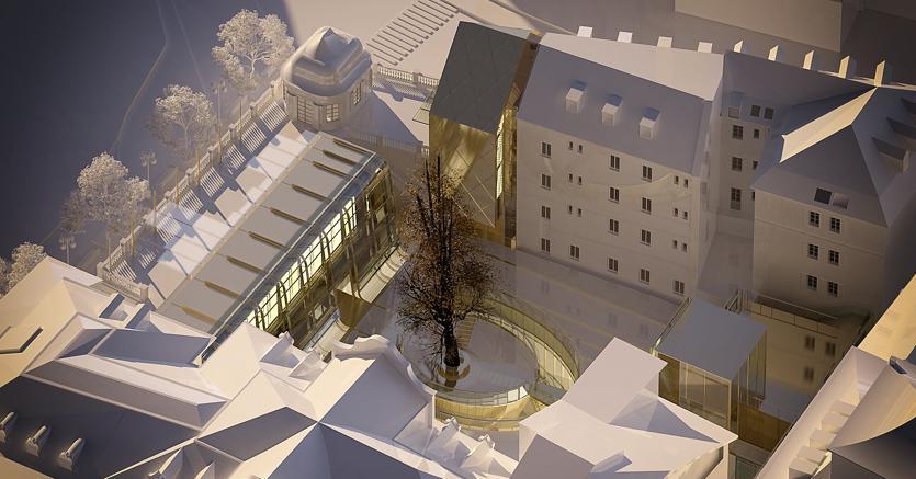 Palais Campofranco: al termine della riconversione nella corte interna ci saranno negozi, servizi e aree dedicate alla ristorazione