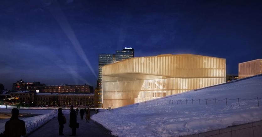 La Deichman Library di Oslo è all'avanguardia, tra l'altro, per l'isolamento acustico (Lund Hagem Arkitekter)