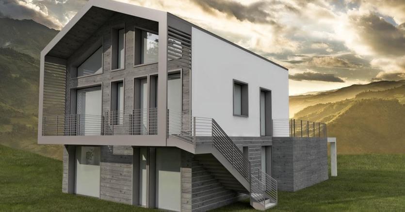 Il rendering della casa passiva in costruzione a Riccione