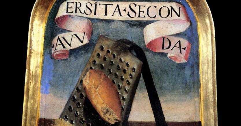 Accademia della Crusca.La pala di Bastiano Antinori, detto il Grattugiato, accademico dal 1586 raffigura un panino sulla grattugia. Il suo motto è «Avversità seconda» (Giovanni Della Casa, Canzone 2)
