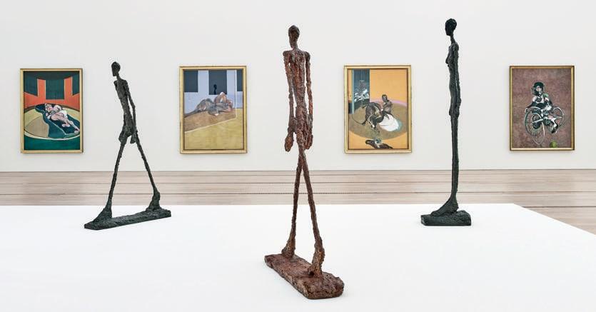 Allestimento.Una della sale della mostra  «Bacon Giacometti» aperta fino al 2 settembre alla Fondation Beyeler di Basilea