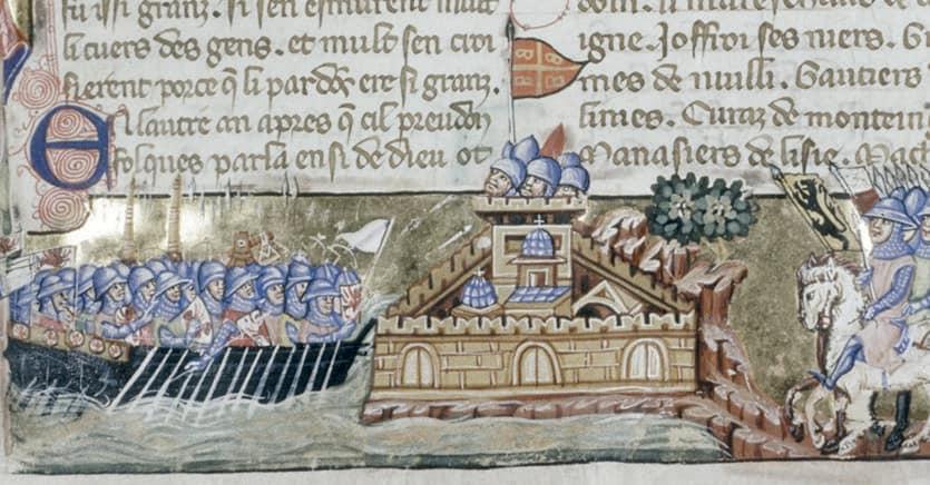 L'attacco dei crociati a Costantinopoli, miniatura contenuta nel  manoscritto  «La Conquête de Constantinople» di Geoffroy de Villehardouin, 1330 circa