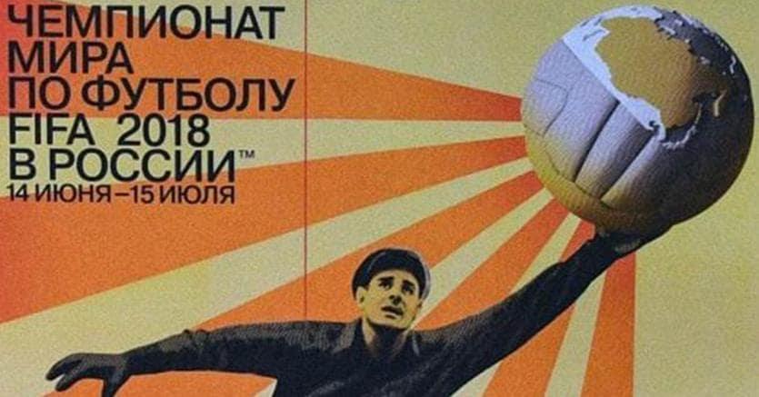 Nel segno di Yashin. Il poster ufficiale di Russia 2018. Realizzato con uno stile che rievoca le grafiche dei manifesti sovietici, il poster ritrae Lev Yashin, il mitico portiere  dell'Urss degli anni Sessanta