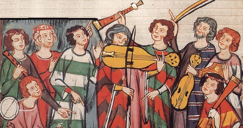 Maestro del Codex Manesse, «Poeti trovatori» (particolare), miniatura (1305-1340), Heidelberg, Biblioteca Universitaria,(Cod. Pal. germ. 848, fol. 399r)