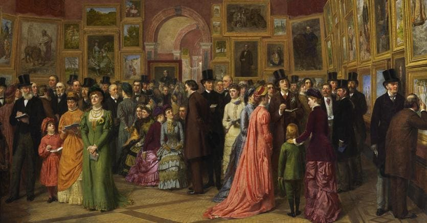 William Powell Frith, A Private View at the Royal Academy, 1881, 1883, Oil on canvas, 102.9 x 195.6 cm, A Pope Family Trust, courtesy Martin Beisly