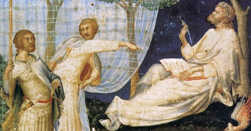 Frontespizio del «Commento di Servio a Virgilio», miniatura ad acquarello  su pergamena di Simone Martini (1340),  Milano, Biblioteca Ambrosiana