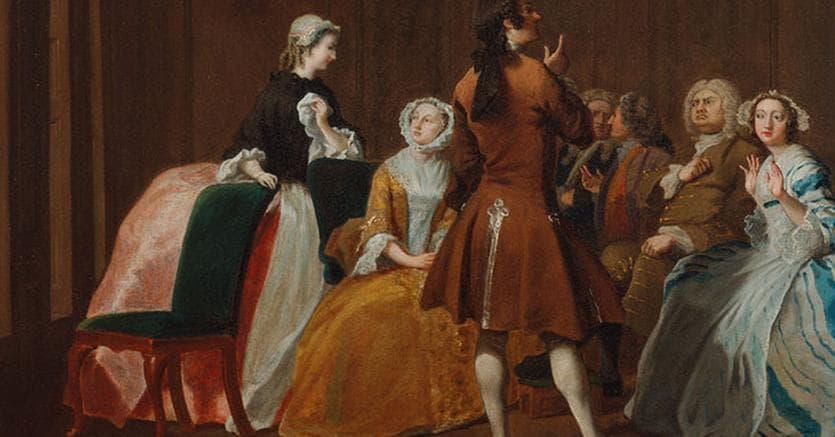 Joseph Highmore, «La famiglia Harlowe», 1745-1747, Yale Center for British Art.  Il soggetto  del dipinto  è tratto  dal romanzo «Clarissa» di Samuel Richardson