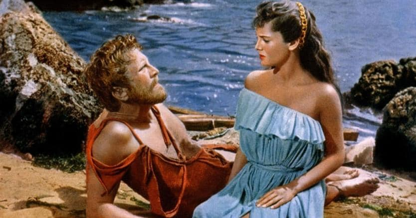 Come ti chiami, straniero? Kirk Douglas (Ulisse) e Rossana Podestà (Nausicaa) nel film «Ulisse» (1954) di  Mario Camerini