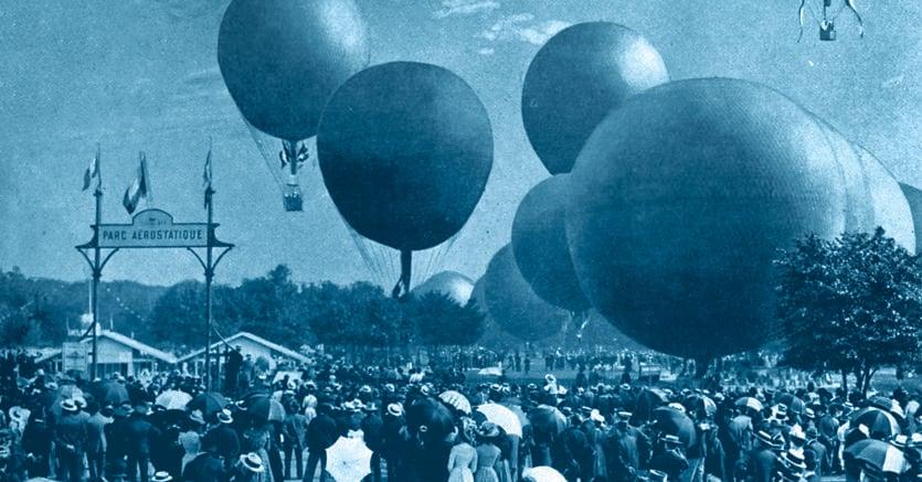 Una gara  di mongolfiere  a Vincennes durante l'Esposizione Universale del 1900. Immagine tratta da  «Le Panorama»