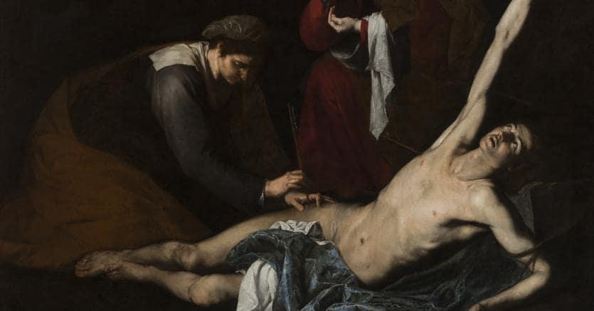 Jusepe de Ribera, Saint Sebastian Tended by the Holy Women, c.1620-23, Oil on canvas, 180 x 231 cm, Museo de Bellas Artes de Bilbao. ©Bilboko Arte Ederren Museoa-Museo de Bellas Artes de Bilbao.
