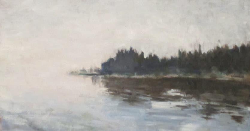 Poeta e pittore. Sirmione, 2016, olio su tela, dipinto di Nicola Gardini