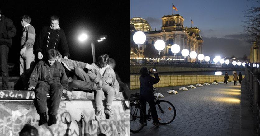 Ieri e oggi: a sinistra una foto della caduta del Muro e, a destra, un'immagine dell'installazione messa a punto  per il 25esimo anniversario da Christopher e Marc Bauder: sfere luminose che corrono lungo tutto il perimetro del Muro