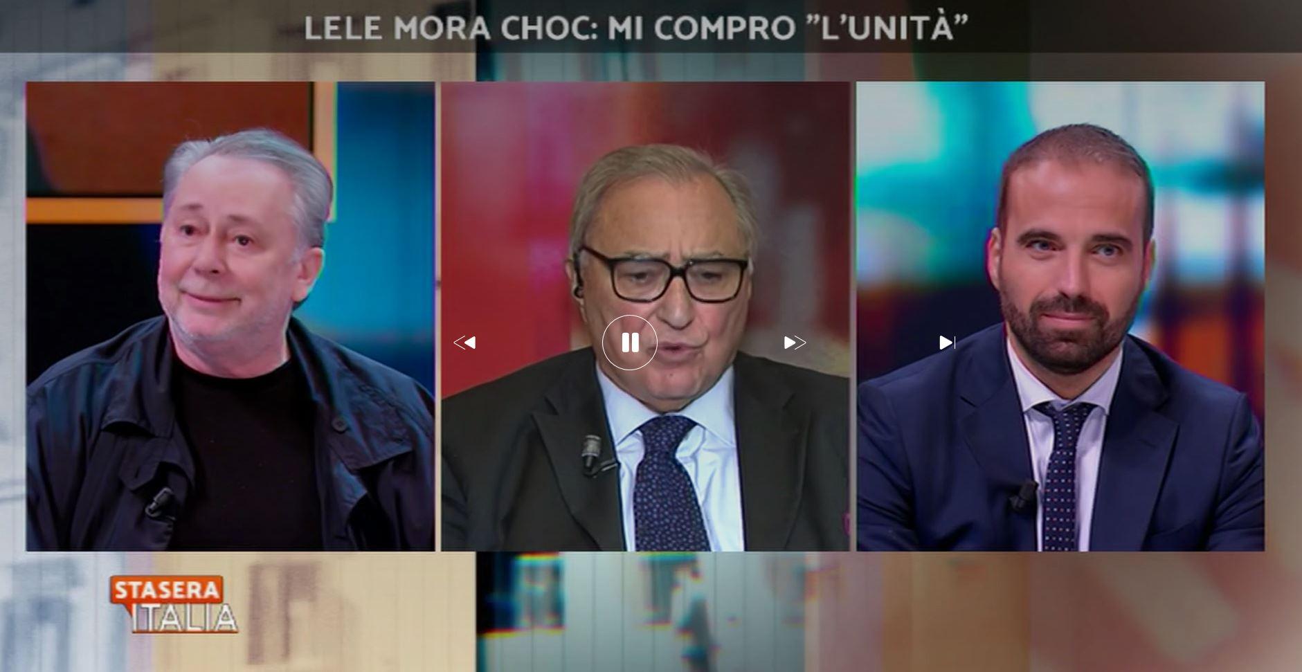 Il dibattito a «Stasera Italia» sulla vendita dell'Unità a Lele Mora con Giulio Sapelli e Luigi Marattin (Pd)