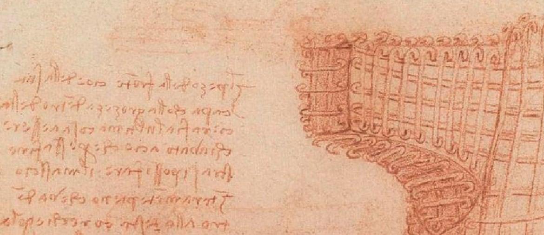 Leonardo da Vinci, «Studio di armatura per la fusione della testa del cavallo di Francesco Sforza» (particolare), Madrid, Biblioteca Reale