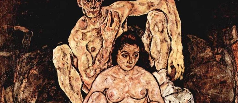 """L'ultimo dipinto. Ne """"La famiglia"""" Egon Schiele immagina la famiglia che avrebbe avuto di lì a poco. In realtà la moglie Edith morirà per l'influenza spagnola prima di dare alla luce il bambino. Lui la a seguirà nella tomba appena tre giorni dopo"""