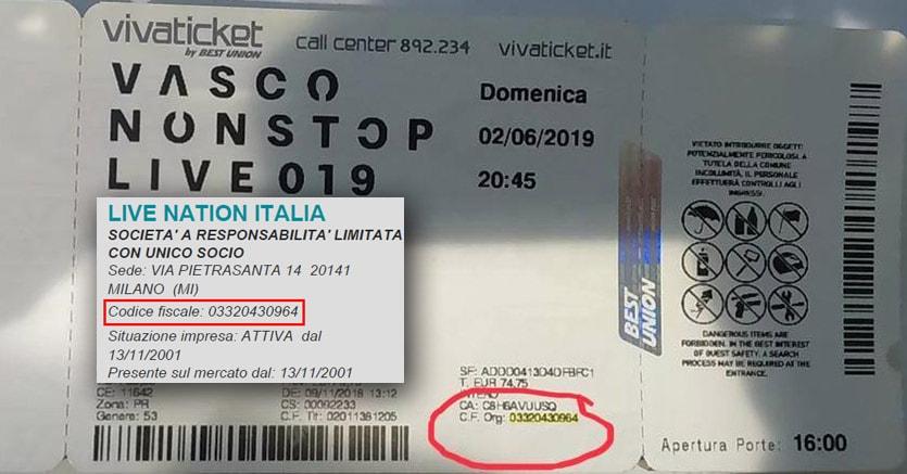 Un biglietto per il nuovo tour di Vasco Rossi e, nel riquardo, i dati di Live Nation Italia attinti dal Cerved: il codice fiscale sul biglietto è lo stesso dell'agenzia  di promoting da cui il Kom si era dissociato