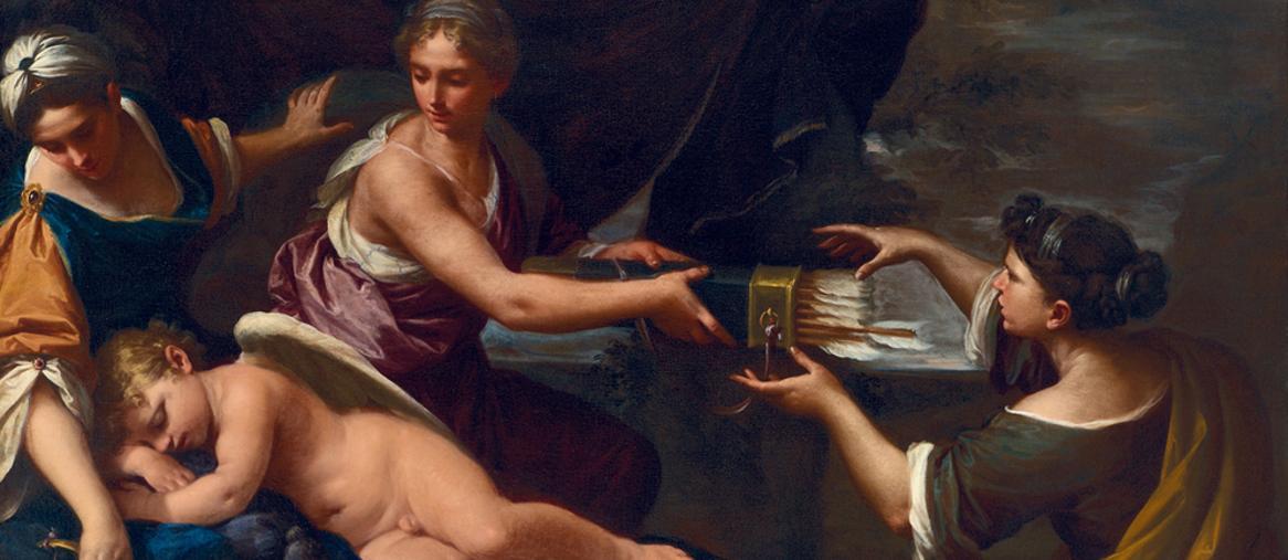 Lorenzo Pasinelli, Bologna, 1629 - 1700 - Amore disarmato dalle ninfe di Diana - Olio su tela, cm 147x218