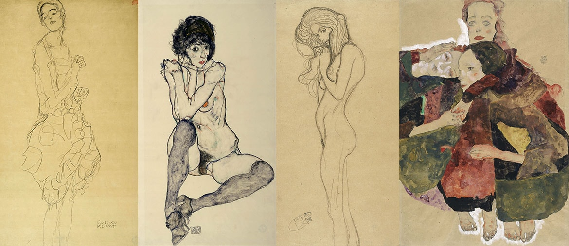 Da sinistra: Gustav Klimt, Study for 'The Dancer' ('Ria Munk II'), 1916-17; Egon Schiele, Seated Female Nude, Elbows Resting on Right Knee, 1914; Gustav Klimt, Standing Female Nude (Study for the Three Gorgons, 'Beethoven Frieze'), 1901; Egon Schiele, Group of Three Girls, 1911. (Exhibition organised by the Royal Academy of Arts, London and the Albertina Museum, Vienna)
