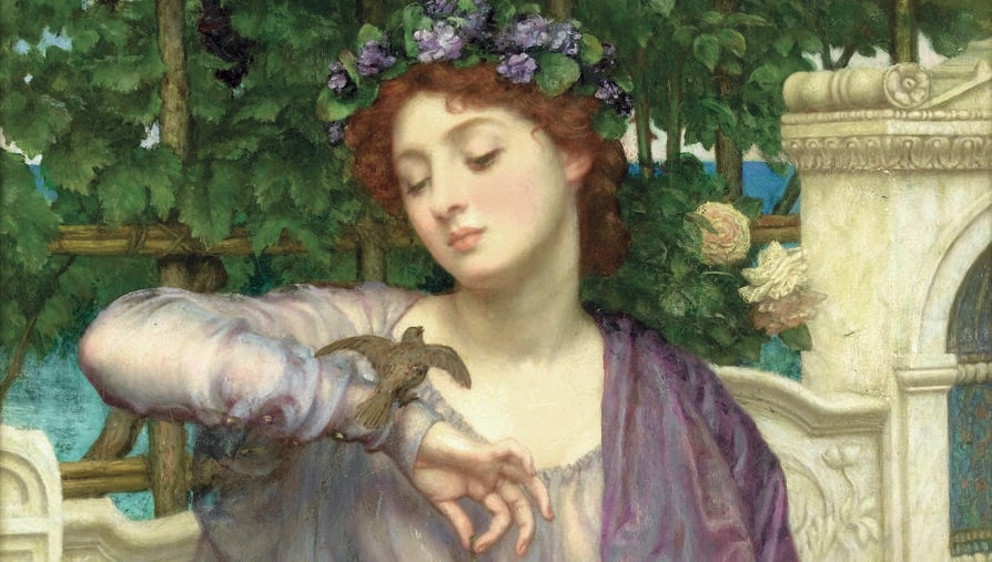 Edward John Poynter, «Lesbia e il passero», olio su tela, 1907