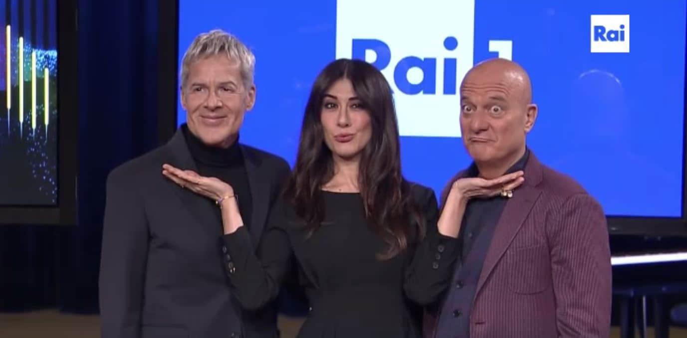 Claudio Baglioni con Virginia Raffaele e Claudio Bisio, team alla guida di Sanremo 2019
