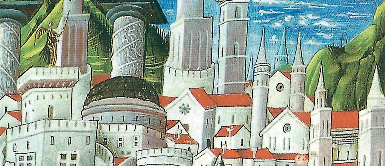 Miniatura. «Roma e la Gerusalemme celeste», da  «La Città di Dio» di Agostino miniata  da Niccolò Polano,  sec. XV, Parigi, Bibliothèque Saint Geneviève